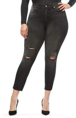 Good American Good Waist Raw Hem Ripped Jeans