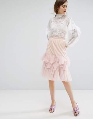 E.F.L.A Midi Skirt With Peplum Hem