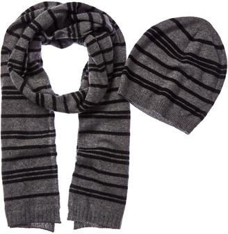 Qi 2Pc Striped Cashmere Hat & Scarf Set