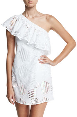 Milly Cotton Eyelet One-Shoulder Coverup Dress, White $225 thestylecure.com