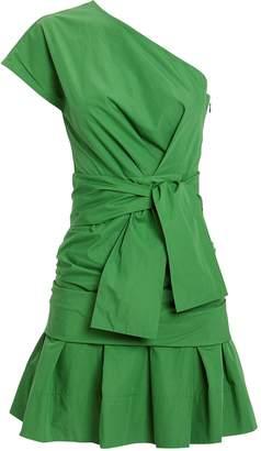 Derek Lam 10 Crosby One Shoulder Gathered Poplin Dress