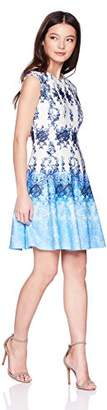 Gabby Skye Women's Petite Chandelier Printed Fit and Flare Dress