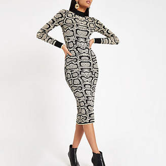 River Island Brown snake print high neck fitted dress