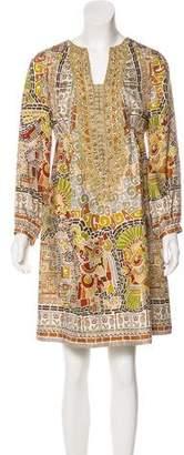 Nicole Miller Long Sleeve Silk Dress