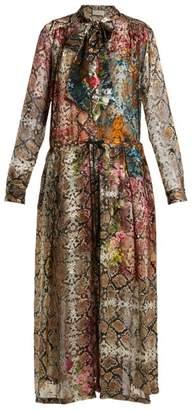 Preen by Thornton Bregazzi Natasha Snake Print Silk Blend Devore Dress - Womens - Multi