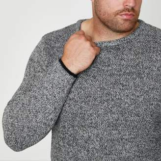 River Island Mens Big and Tall grey crew neck sweater