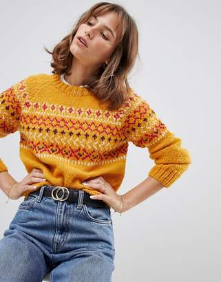 People Tree Hand Knitted Jumper In Fair isle Knit