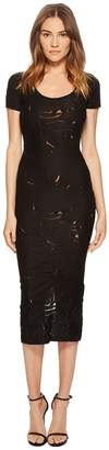 Versace Short Sleeve Sheer Designed Midi Dress Women's Dress