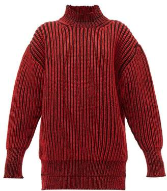 Balenciaga Cable Knit Virgin Wool Sweater - Womens - Black Red