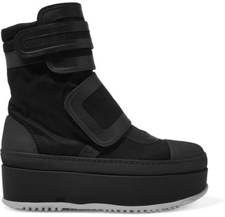 Leather-trimmed Twill Platform Sneakers - Black