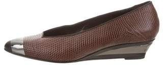 Sergio Rossi Pointed-Toe Embossed Leather Wedges