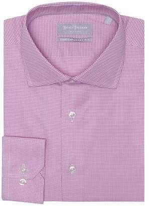 Hickey Freeman Micro Check Dobby Long Sleeve Contemporary Fit Dress Shirt