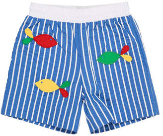 Florence Eiseman Striped Fish-Embroidered Swim Trunks, Size 6-24 Months