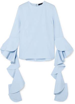 Ellery Emmeline Ruffled Cotton-poplin Top - Light blue