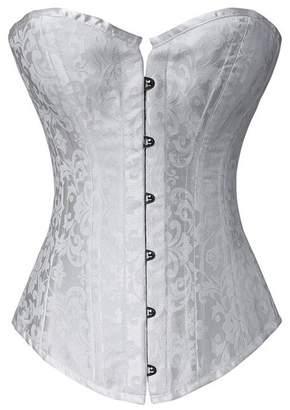 Frawirshau Women's Gothic Lace Up Boned Jacquard Corset Wedding Top Low Back XXX-Large