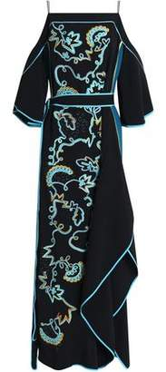 Peter Pilotto Cold-shoulder Belted Appliqued Crepe Gown