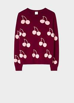Paul Smith Women's Burgundy Wool 'Cherry' Intarsia Sweater