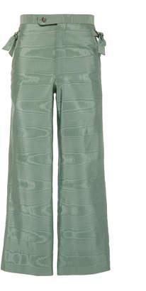 BODE Cropped Silk-Moire Wide-Leg Pants Size: 30
