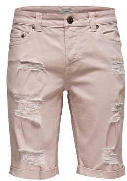 ONLY & SONS Destroyed Twill Shorts