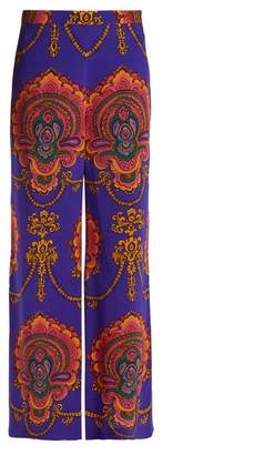 Gucci Treasure Print Wide Leg Silk Trousers - Womens - Purple Print