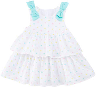 Mayoral Embroidered Dots Tiered Dress w/ Bows, Size 2-12 Months