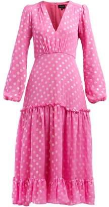 Saloni Devon Polka Dot Jacquard Silk Blend Dress - Womens - Pink Silver