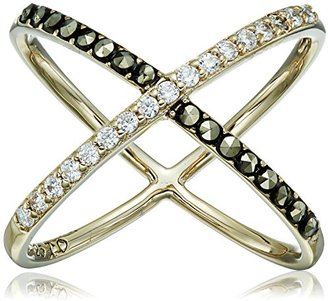 "Judith Jack ""Classics"" Gold-Tone Sterling Silver Ring with Crystals and Marcasite $115 thestylecure.com"