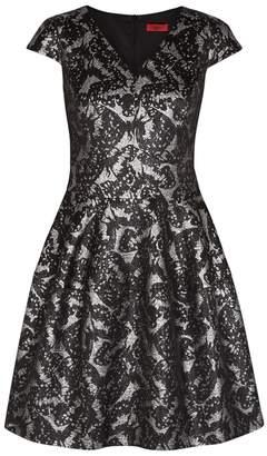 HUGO Konelly Metallic Butterfly-jacquard Dress