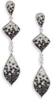 Black Diamond White Diamond, & 18K White Gold Earrings