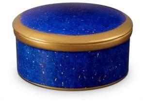 Lapis-Look Limoges Porcelain & 24K Gold Lidded Box