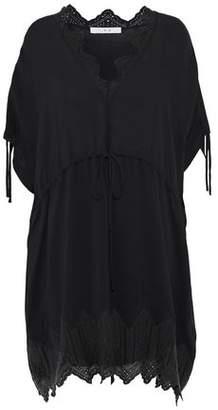 IRO Gathered Broderie Anglaise-Trimmed Chiffon Mini Dress