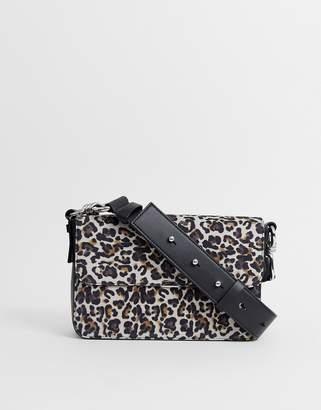 AllSaints real leather leopard cross body bag