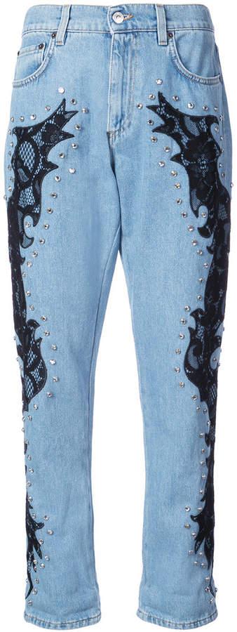 lace detail boyfriend jeans