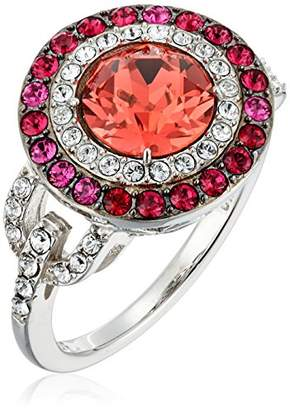 Swarovski Platinum-Plated Crystal Padparadsha Round-Cut Double Halo with and Clear Ring
