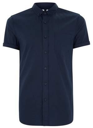 Topman Mens Navy Muscle Fit Short Sleeve Shirt