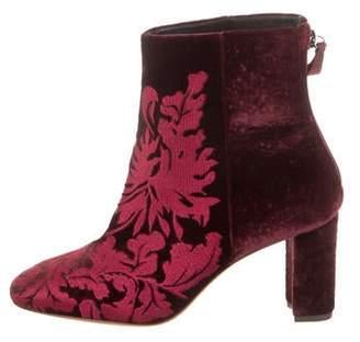Alexandre Birman Velvet Floral Ankle Boots w/ Tags