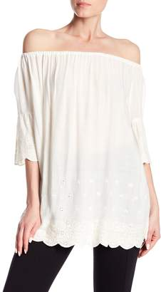 Angie Eyelet Detailed Off-the-Shoulder Top