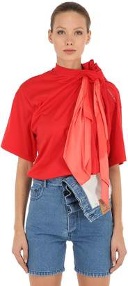 Y/Project Cotton Jersey T-Shirt W/ Scarf
