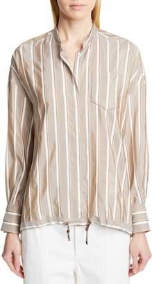 Brunello Cucinelli Drawstring Hem Silk Shirt