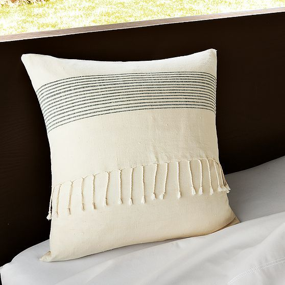 Handloomed Striped Cotton Pillow Cover