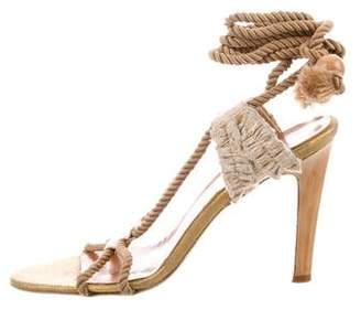Stella McCartney Metallic Lace-Up Sandals