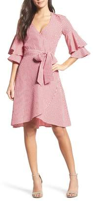 Charles Henry Ruffle Wrap Dress