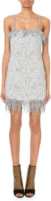 Balmain Sleeveless Sequined-Tweed Chain-Strap Mini Dress