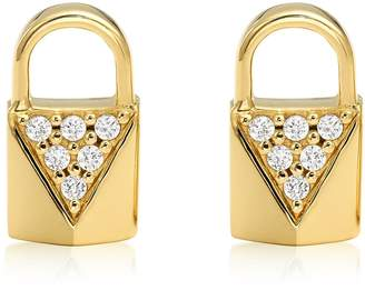 Michael Kors Mercer Lock 14k Gold Plated Sterling Silver Pave Studs