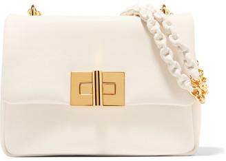 Natalia Medium Leather Shoulder Bag - White