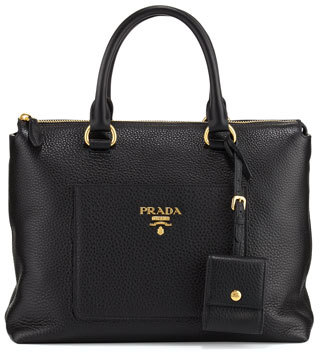 Prada Daino Zip Pebbled Leather Tote Bag $1,570 thestylecure.com
