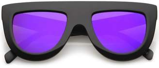 Sunglass.La Oversize Chunky Wide Arms Colored Mirrror Flat Lens Flat Top Sunglasses 51mm (Matte Black / Purple Mirror)