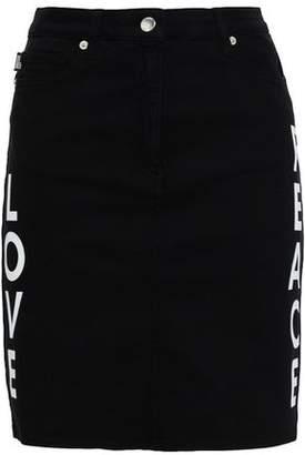 Love Moschino Appliqued Printed Denim Mini Skirt