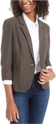 BCX Juniors' Ruched-Sleeve Tweed Jacket