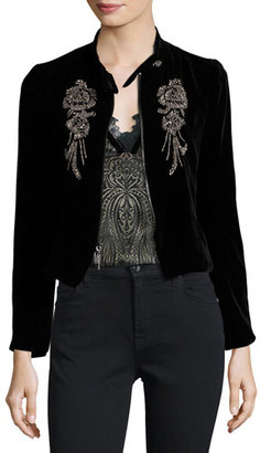 Nanette Lepore Embellished Structured Velvet Jacket, Black $598 thestylecure.com